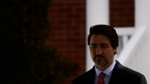 Prime Minister Justin Trudeau addresses Canadians on the COVID-19 pandemic from Rideau Cottage in Ottawa on Thursday, April 2, 2020. THE CANADIAN PRESS/Sean Kilpatrick