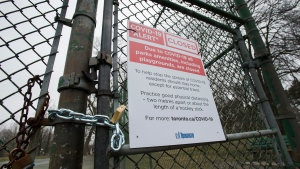 The High Park public tennis court is closed in Toronto on Tuesday, March 31, 2020. Ontario has closed recreation areas due to the coronavirus also known as COVID-19. THE CANADIAN PRESS/Nathan Denette