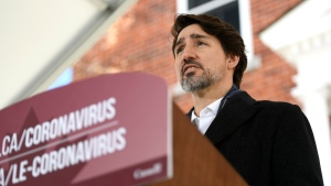Prime Minister Justin Trudeau speaks during his daily press conference on the COVID-19 pandemic, outside his residence at Rideau Cottage in Ottawa, on Saturday, April 4, 2020. THE CANADIAN PRESS/Justin Tang