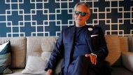 """FILE - This Nov. 13, 2019 file photo shows Italian tenor Andrea Bocelli during an interview in Paris. Bocelli will sing at the Duomo of Milan on Easter Sunday sending a message of love and hope to the world during the coronavirus pandemic, but the Italian tenor says it's not a concert. Instead, he calls it a """"prayer."""" (AP Photo/Francois Mori, FIle)"""