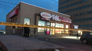 Toronto police are investigating a shooting in Rexdale on Wednesday, April 8, 2020. (Craig Wadman)