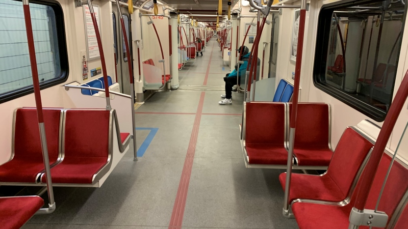 A TTC subway train runs mostly empty during the middle of a weekday Monday April 6, 2020. (Joshua Freeman /CP24)