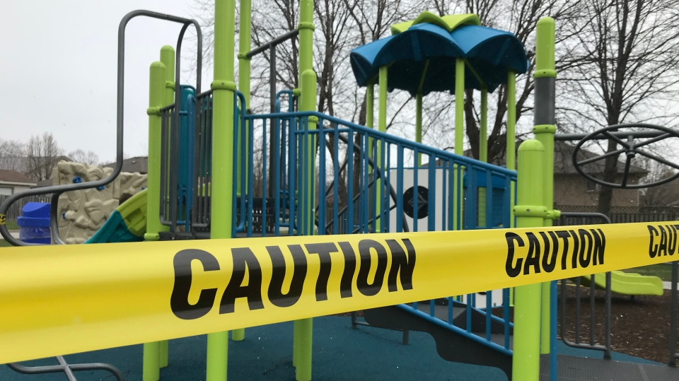 Caution tape surrounds a playground in Windsor, Ont., on Wednesday, April 15, 2020. (Rich Garton / CTV Windsor)