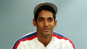 Damaso Garcia is shown in a 1989 file photo as a member of the Montreal Expos. Former Toronto Blue Jays second baseman Garcia, a two-time all-star and major part of the club's rise to prominence, has died at the age of 63. THE CANADIAN PRESS/AP