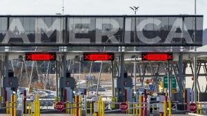 The United States border crossing is seen Wednesday, March 18, 2020 in Lacolle, Que. Prime Minister Justin Trudeau says travel restrictions along the Canada-U.S. border won't be eased any time soon. THE CANADIAN PRESS/Ryan Remiorz