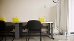 Stations can be seen at the new interim injection site in Toronto Public Health's offices at Dundas and Victoria St. in Toronto on Monday, August 21, 2017. THE CANADIAN PRESS/Cole Burston