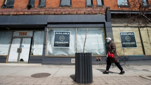 Space available on storefronts is shown on Queen Street in Toronto on Thursday, April 16, 2020. THE CANADIAN PRESS/Nathan Denette