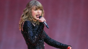 FILE - In this June 22, 2018, file photo, singer Taylor Swift performs on stage in concert at Wembley Stadium in London. Swift is canceling all of her performances and appearances for the rest of the year because of the coronavirus pandemic. (Photo by Joel C Ryan/Invision/AP, File)