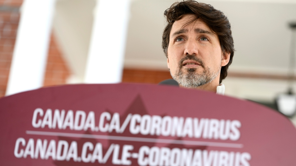 Prime Minister Justin Trudeau speaks during his daily press conference on the COVID-19 pandemic, in front of his residence at Rideau Cottage on Saturday, April 18, 2020. THE CANADIAN PRESS/Justin Tang