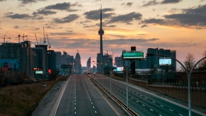 The Gardiner Expressway in Toronto is almost empty in the as the sun rises on Sunday, April 19, 2020. THE CANADIAN PRESS/Frank Gunn
