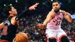 Toronto Raptors guard Fred VanVleet (23) makes a pass around Chicago Bulls guard Ryan Arcidiacono (51) during first half NBA basketball action in Toronto, Sunday, Feb. 2, 2020. THE CANADIAN PRESS/Frank Gunn