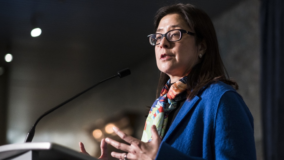 Toronto's medical officer of health Dr. Eileen de Villa speaks to the media at city hall in Toronto, on Wednesday, April 24, 2019.