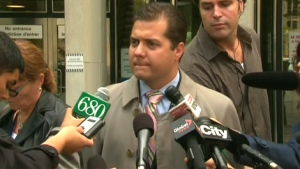 Toronto Police Service Det.-Sgt. Steve Ryan speaks to reporters outside the courthouse in Toronto, Monday, Sept. 28, 2009.