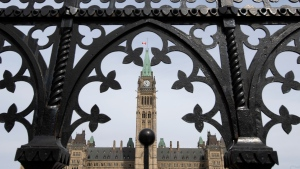 The Parliament buildings are seen in Ottawa, Monday, April 27, 2020. THE CANADIAN PRESS/Adrian Wyld