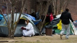 A worker from Sanctuary, a christian charitable organization, tends to homeless people in their tents during the COVID-19 pandemic in Toronto on Tuesday, April 28, 2020. THE CANADIAN PRESS/Nathan Denette