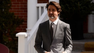 Prime Minister Justin Trudeau addresses Canadians on the COVID-19 pandemic from Rideau Cottage in Ottawa on Wednesday, April 29, 2020. THE CANADIAN PRESS/Sean Kilpatrick