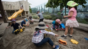 Children play in a sandbox at a daycare in Vancouver, on Thursday July 4, 2019. THE CANADIAN PRESS/Darryl Dyck