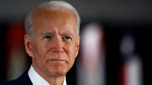 In this March 10, 2020, file photo, Democratic presidential candidate former Vice President Joe Biden speaks to members of the press at the National Constitution Center in Philadelphia. Biden is expected to give his first public comments on a sexual assault allegation that has roiled his presidential campaign.  (AP Photo/Matt Rourke, File)