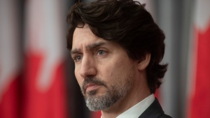Justin Trudeau is seen during an announcement on a ban on military style assault weapons during a news conference in Ottawa, Friday May 1, 2020. CP/Adrian Wyld