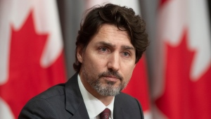 Prime Minister Justin Trudeau is seen during an announcement on a ban on military style assault weapons during a news conference in Ottawa, Friday May 1, 2020. THE CANADIAN PRESS/Adrian Wyld