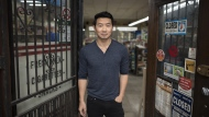 Actor Simu Liu of Kim's Convenience, poses for a photograph on set following an interview in Toronto on Wednesday, July 24, 2019. Chinese-Canadian actor Simu Liu is deeply proud of his heritage and likes to champion it whenever he can. THE CANADIAN PRESS/Tijana Martin