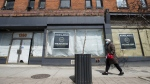 Space available signs are shown on storefronts on Queen Street in Toronto on Thursday, April 16, 2020. COVID-19 worries appear to be easing for some businesses. THE CANADIAN PRESS/Nathan Denette