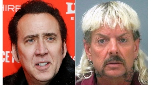 "This combination photo shows actor Nicolas Cage at the premiere of ""Mandy"" during the 2018 Sundance Film Festival in Park City, Utah. on Jan. 19, 2018, left, and a booking mug of provided by the Santa Rosa County Jail in Milton, Fla., shows Joseph Maldonado-Passage, also known as ""Joe Exotic."" Cage will portray Maldonado-Passage in a new limited series produced by Brian Grazer. (AP Photo, left, and Santa Rosa County Jail via AP)"
