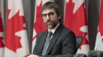 Minister of Canadian Heritage Steven Guilbeault is seen during a news conference in Ottawa, on April 17, 2020. (Adrian Wyld / THE CANADIAN PRESS)