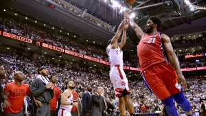 Philadelphia 76ers centre Joel Embiid (21) fails to stop Toronto Raptors forward Kawhi Leonard's (2) last-second basket during second half NBA Eastern Conference semifinal action in Toronto on Sunday, May 12, 2019. THE CANADIAN PRESS/Frank Gunn