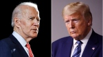 In this combination of file photos, former Vice President Joe Biden speaks in Wilmington, Del., on March 12, 2020, left, and U.S. President Donald Trump speaks at the White House in Washington on April 5, 2020. (AP Photo, File)