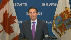 Brampton Mayor Patrick Brown speaks at city hall on May 13, 2020. (CP24)