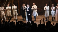 """This July 9, 2016 file photo shows actor and """"Hamilton"""" creator Lin-Manuel Miranda, center, takes his final performance curtain call at the Richard Rogers Theatre in New York. The Walt Disney Company said Tuesday, May 12, 2020, it will offer the live capture of Miranda's show on Disney TV Plus starting on July 3. It had been slated to be in movie theaters in October, 2021. (Photo by Evan Agostini/Invision/AP, File)"""