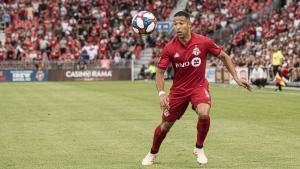 Toronto FC defender Justin Morrow (2) controls a pass during first half MLS action against the Houston Dynamo, in Toronto on Saturday, July 20, 2019. THE CANADIAN PRESS/Christopher Katsarov