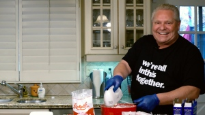 Ontario Premier Doug Ford posted a photo of himself making cheesecake on Twitter on Tuesday, May 14, 2020.