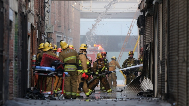 Ten firefighters 'down' following Los Angeles 'explosion'
