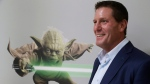 """In this Monday, July 13, 2015, photo, Disney chief strategy officer Kevin Mayer visits the company's """"accelerator"""" space in Glendale, Calif. (AP Photo/Damian Dovarganes)"""