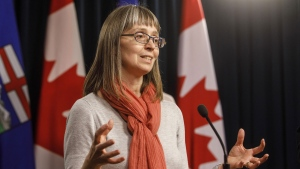 Alberta chief medical officer of health Dr. Deena Hinshaw updates media on the Covid-19 situation in Edmonton on Friday March 20, 2020. THE CANADIAN PRESS/Jason Franson
