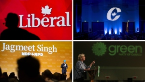 The Liberal, Conservative, New Democrat and Green Party logos. (The Canadian Press)