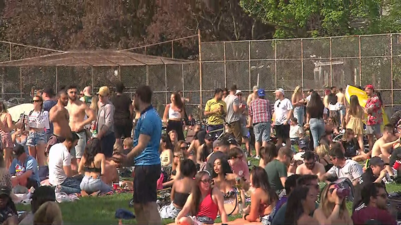 Large crowds were seen at Trinity Bellwoods Park.