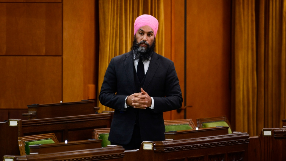 NDP leader Jagmeet Singh stands during question period in the House of Commons on Parliament Hill amid the COVID-19 pandemic in Ottawa on Monday, May 25, 2020. THE CANADIAN PRESS/Sean Kilpatrick
