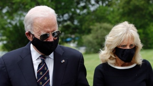 Democratic presidential candidate, former Vice President Joe Biden and Jill Biden depart after placing a wreath at the Delaware Memorial Bridge Veterans Memorial Park, Monday, May 25, 2020, in New Castle, Del. (AP Photo/Patrick Semansky)