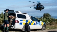 In this photo provided by the New Zealand Defence Force, a police officer watches as a helicopter takes off during a rescue operation to find two missing trampers in the Kahurangi National Park in the South Island of New Zealand, Wednesday, May 27, 2020. Two hikers rescued in the New Zealand wilderness Wednesday got lost in fog and exhausted their food but survived 19 days with only minor injuries, police said. (CPL Naomi James/New Zealand Defence Force via AP)