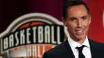 Steve Nash speaks during induction ceremonies at the Basketball Hall of Fame, Friday, Sept. 7, 2018, in Springfield, Mass. Nash and hockey players Willie O'Ree and Sheldon Kennedy are among this year's inductees into Canada's Sports Hall of Fame. THE CANADIAN PRESS/AP-Elise Amendola