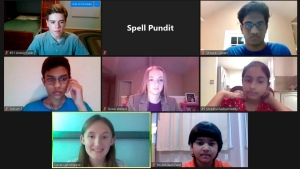 Organizers of the SpellPundit Online National Spelling Bee participate in semifinals Tuesday night, May 26, 2020. The bee was launched after the Scripps National Spelling Bee was canceled because of the coronavirus pandemic. (SpellPundit via AP)