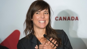 "Director of ""Antigone"" Sophie Deraspe smiles during a news conference to announce ""Antigone"" as Canada's entry for the 2020 Academy Awards for the best international film in Montreal, Friday, Sept. 20, 2019. THE CANADIAN PRESS/Graham Hughes"