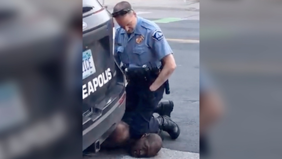 In an image from May 25, 2020 video provided by Darnella Frazier, then-Minneapolis police officer Derek Chauvin kneels on the neck of George Floyd who was pleading that he could not breathe. (Darnella Frazier via AP)