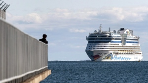 The AIDAdiva cruise ship, on a 10-day trip from New York to Montreal, arrives in Halifax on Friday, Oct. 19, 2018. Â THE CANADIAN PRESS/Andrew Vaughan