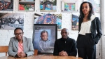 Mother Andrea Brown, father Gladstone Brown and lawyer Saron Gebresellasi (right) are shown with a portrait of Samuel Brown in a handout photo. THE CANADIAN PRESS/HO-Michael YC Tseng MANDATORY CREDIT