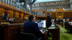 Members of Parliament are pictured on a computer screen as they take part via video conference during the COVID-19 Pandemic Committee in the House of Commons on Parliament Hill in Ottawa on Wednesday, May 27, 2020. Conservative MP James Bezan , middle right, speaks. THE CANADIAN PRESS/Sean Kilpatrick