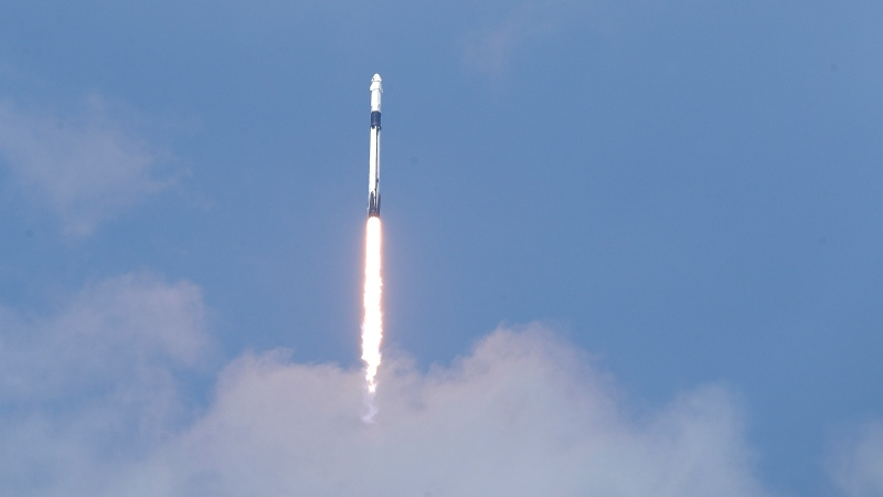 A SpaceX Falcon 9, with NASA astronauts Doug Hurley and Bob Behnken in the Dragon crew capsule, lifts off from Pad 39-A at the Kennedy Space Center in Cape Canaveral, Fla., Saturday, May 30, 2020. For the first time in nearly a decade, astronauts blasted towards orbit aboard an American rocket from American soil, a first for a private company.(AP Photo/John Raoux)